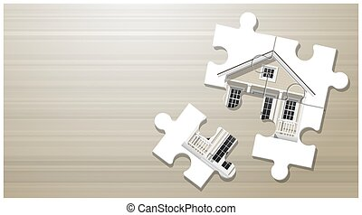 Dream house concept with puzzle house on wooden board background 2