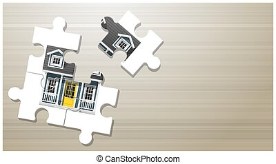 Dream house concept with puzzle house on wooden board background 3
