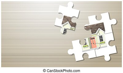 Dream house concept with puzzle house on wooden board background 4
