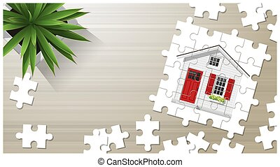 Dream house concept with puzzle house on wooden board background 5