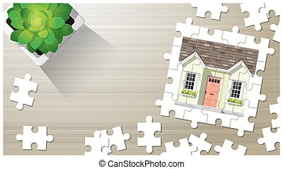 Dream house concept with puzzle house on wooden board background 6