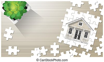 Dream house concept with puzzle house on wooden board background 7