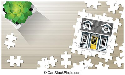 Dream house concept with puzzle house on wooden board background 8