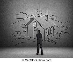 Dream house on wall