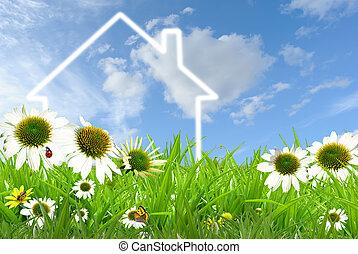 Dream House - Symbol of a house on grassland against blue...