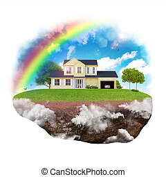 Dream house - House with background of sky with rainbow