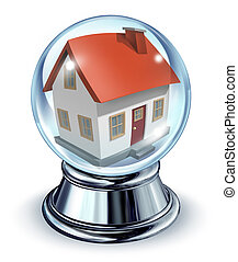 Dream House - Dream house in a crystal ball transparent...