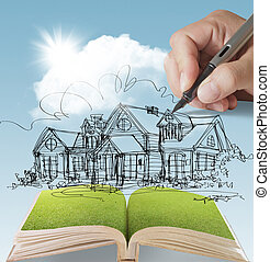 dream house - open book of a dream house with sunlight blue...