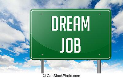 Dream Job on Green Highway Signpost.