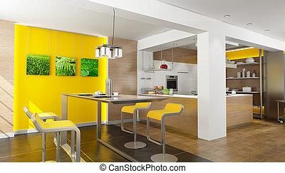 Dream kitchen - 3D rendering of a modern design kitchen...