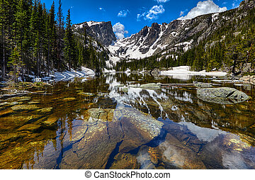 Dream Lake at the Rocky Mountain National Park, Colorado,...