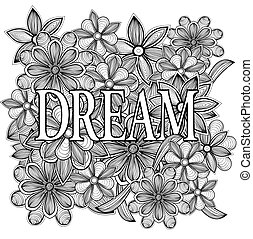 dream., mano, disegnato, illustrazione