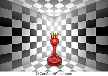 Dream of pawn. Loneliness (gold pawn-chess metaphor). 3D illustration render. Free space for text.