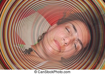 dream - circles in half face of a young woman who sleeps and...