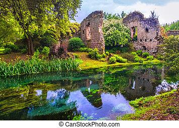 dream river enchanted castle ruins garden fairy tale nymph garden