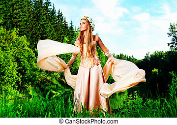 dream - Portrait of a dreamy fairy girl outdoor.