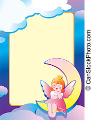 The Princess is sleeping on the moon and place for sample text. Fairy-tale. Vector art-illustration.