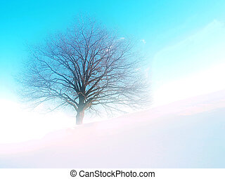 Dream tree - Tree on hill; winter time; dream tone