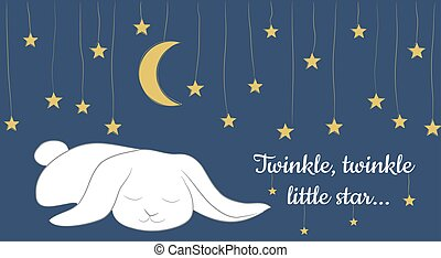 dream - Vector Card with fairy tale landscape, cute sleeping...