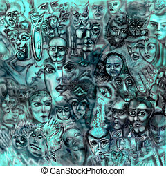 The abstract background consisting of human faces and fantastic images. Square raster illustration.