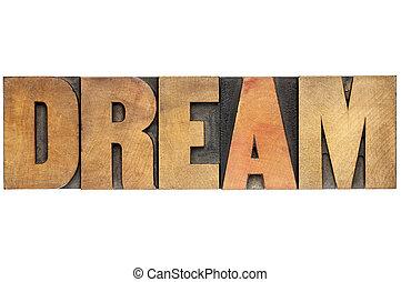 dream word in wood type