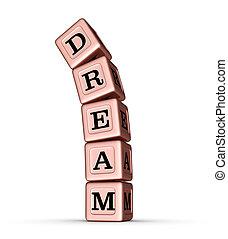 Dream Word Sign. Falling Stack of Rose Gold Metallic Toy Blocks.
