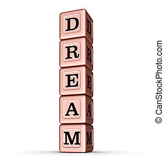 Dream Word Sign. Vertical Stack of Rose Gold Metallic Toy Blocks.