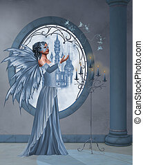 Dream world - the blue fairy plays with her butterflies