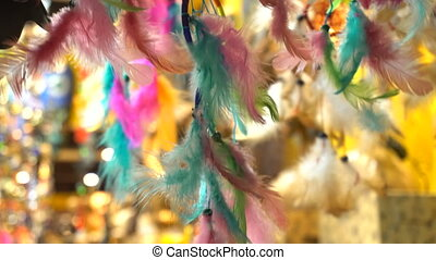 dreamcatcher, and, waving, feathers