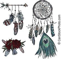 dreamcatcher, beau, bouquet, feathers., main, boho, flèche, ethnique, dessiné, style