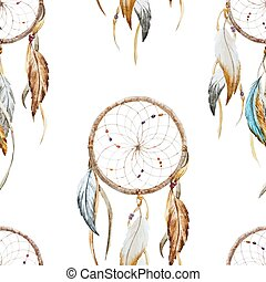 Beautiful vector pattern with nice watercolor dreamcatcher