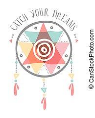 dreamcatcher, couleur, tribal, boho, prise, ton, rêves