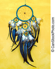 dreamcatcher  - Dream catcher on old yellow  wall