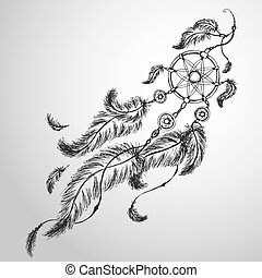 Dreamcatcher, feathers and beads. Native american indian ...