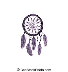 Dreamcatcher, feathers and beads. Simple watercolor element. Vector illustration.