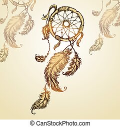 Dreamcatcher, feathers and beads.