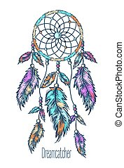 Dreamcatcher, feathers. Hand drawn