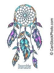 Dreamcatcher, feathers. Hand drawn