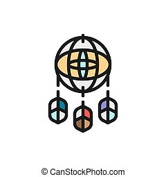 Dreamcatcher flat color icon. Isolated on white background
