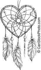 Dreamcatcher Heart illustration - Hand drawn ethnic...