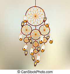 dreamcatcher illustration with feathers, light brown and blue colors