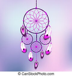 dreamcatcher illustration with feathers, light blue and magenta colors