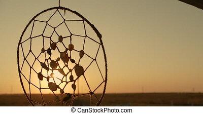 dreamcatcher, krajowiec, sunset., odejść, amerykanka, wisząc