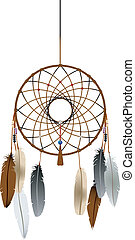 Native american indian dreamcatcher over white background