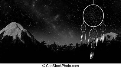 dreamcatcher on a night sky background 3d illustration render