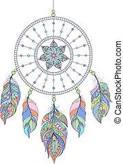 dreamcatcher on white background - Vector illustration of...