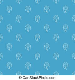 Dreamcatcher pattern vector seamless blue