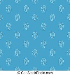 Dreamcatcher pattern vector seamless blue