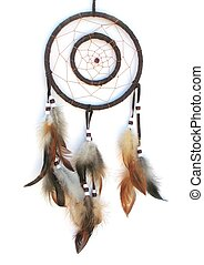 dreamcatcher - Isolated dreamcatcher with brown feathers