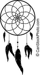 dreamcatcher, pretas, monocromático, vetorial, ilustração